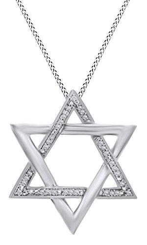 AFFY Hanukkah Holy Day Sale 1/10 Ct Round Cut Natural Diamond Star of David Pendant Necklace in 14k White Gold Over Sterling Silver
