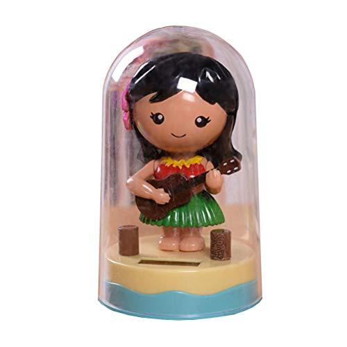 Amosfun Hawaiian Girl Solar Powered Dashboard Doll Dancing Toys Car Ornament(Guitar Girl)