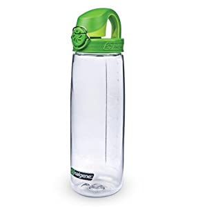 Nalgene On The Fly Water Bottle (Clear with Green Cap),20-Ounce