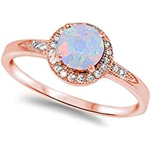 Halo Accent Engagement Ring Round Lab Created White Opal Pink Rose Tone Plated 925 Sterling Silver