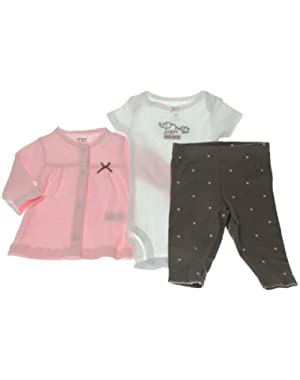 Carters Baby Girls' Pink/Brown Dot 3 Piece Cardigan Set