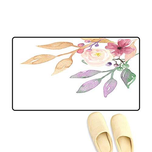 Birch Corner Hearth - Interior Doormat Vintage Pastel Floral Corner Watercolour Leaves Han Painted