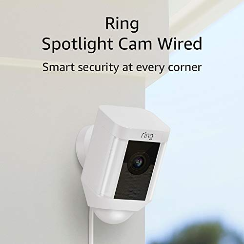 Ring Spotlight Cam Wired: Plugged-in HD safety digital camera with integrated spotlights, two-way communicate and a siren alarm, White, Works with Alexa