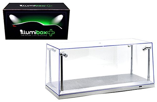 M & J/MiJo Exclusives Clear Display Show Case for 1/18 Silver Base with Replaceable Led Lights by Illumibox (Best Of Show Diecast)