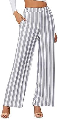 Pantalones de mujer a rayas, pierna ancha, cintura alta, palazzo ...