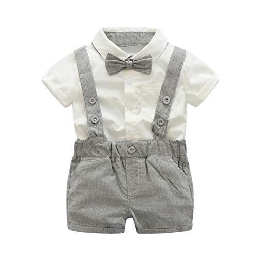 Summer Kids Baby Boys Gentleman Bowtie Short Sleeve Shirt+Suspenders Princes Shorts Set (Gray, 80) -