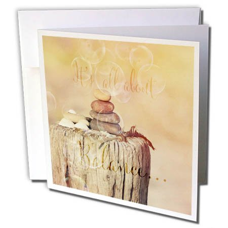 3dRose Andrea Haase Nature Photography - Marine Still Life With Cairn In Sunlight And Balance Quote - 12 Greeting Cards with envelopes ()
