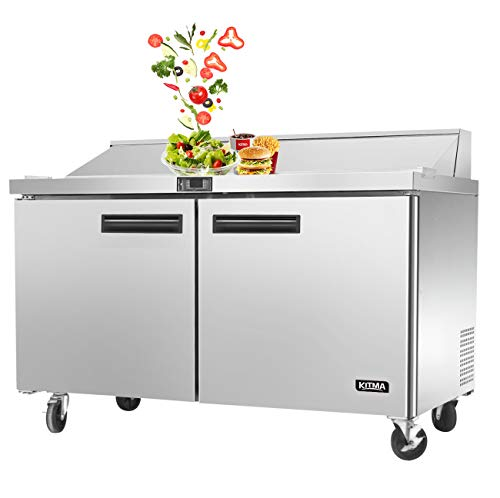 KITMA 2 Door Salad Sandwich Prep Table Refrigerator, 60 Inch Commercial Rate Refrigerator, 33-45 degrees Fahrenhei