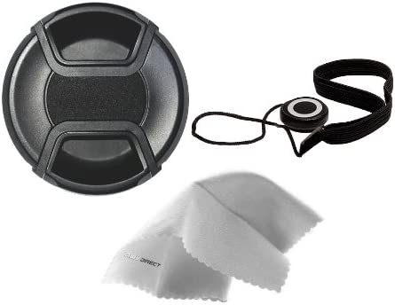 Nikon D5600 Lens Cap Center Pinch Nw Direct Microfiber Cleaning Cloth. 72mm + Lens Cap Holder