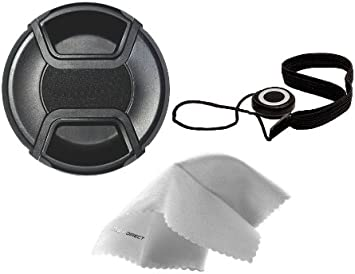 + Lens Cap Holder Sony Alpha a58 Lens Cap Center Pinch Microfiber Cleaning Cloth. 52mm