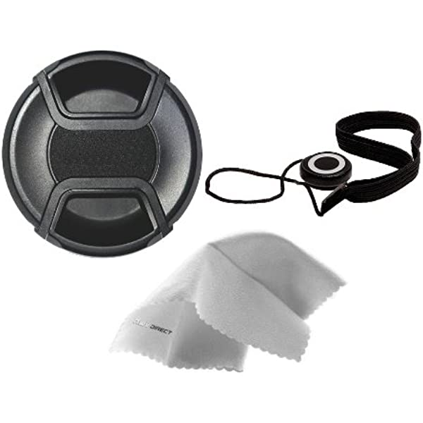 55mm Lens Cap Side Pinch + Lens Cap Holder Nwv Direct Microfiber Cleaning Cloth for Sony DSC-HX400