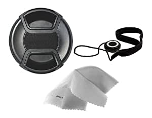 Canon EOS Rebel T4i Lens Cap Center Pinch (67mm) + Lens Cap Holder + Nwv Direct Microfiber Cleaning Cloth.