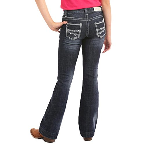 Rock & Roll Cowgirl Girls' and (4-16) Diamond Stitch Trouser Jeans Boot Cut Indigo (Bootcut Girls Jeans)