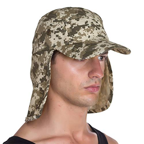 Top Level Fishing Sun Cap UV Protection - Ear and Neck Flap Hat, Digital CAM