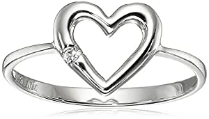 Sterling Silver Round Created White Sapphire Heart Ring, Size 8