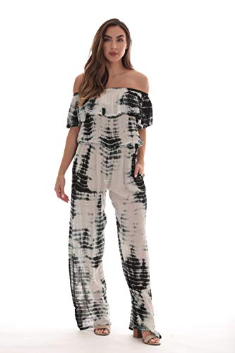 Riviera Sun Rayon Crepe Tie Dye Jumpsuit 21893-BLK-1X Black