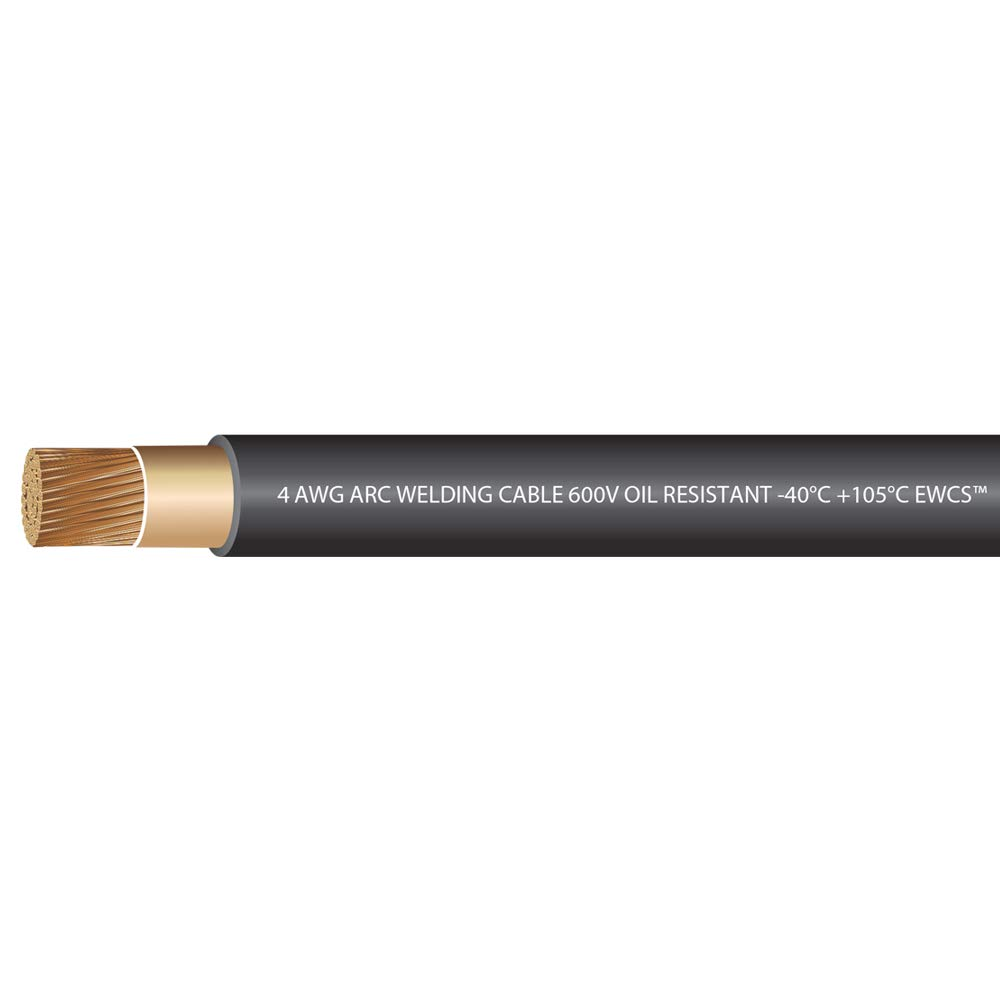 EWCS 4 Gauge Premium Extra Flexible Welding Cable 600 VOLT - Black - 20 Feet - Made in the USA by EWCS