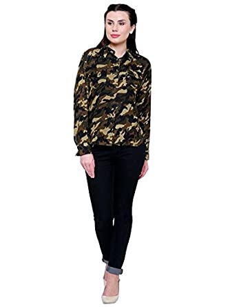 Fashion Village Military Print Shirt for Women s  Amazon.in  Clothing    Accessories a043d6f6224