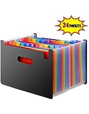 DAMIGRAM Expanding Files Folders, 24 Pocket Portable Rainbow A4 Filing Organiser, Expander Plastic Wallets Filing Box Document Holder for Business/Office/Study