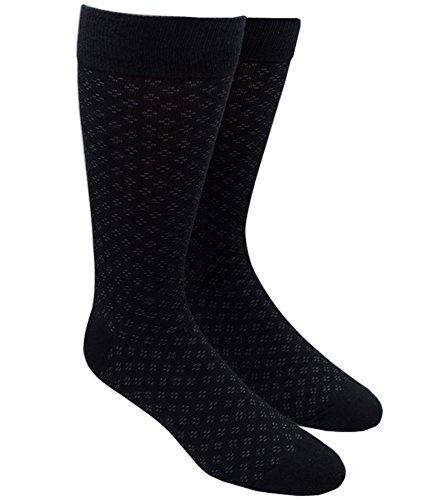 Black Speckled - Speckled Black Cotton Blend Dress Socks, One Size