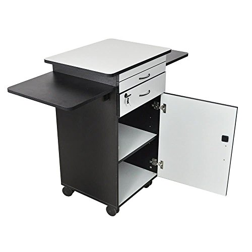 TableTop King WPSDD3 Mobile Multimedia Workstation Stand with Locking Cabinet ()