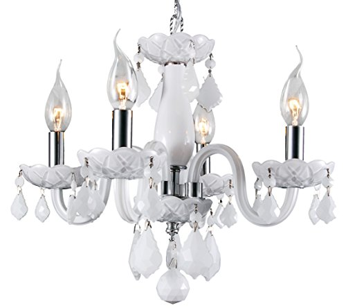 - Worldwide Lighting W83100C16-WH Clarion Collection 4 Light Chrome Finish and White Crystal Chandelier Mini, 16