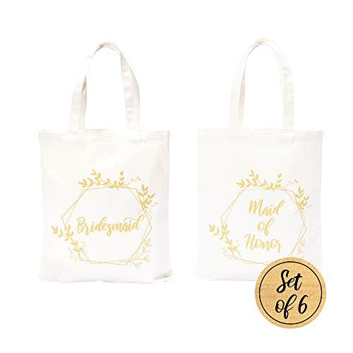 Pop Fizz Designs Bridesmaid Bags   5 Bridesmaid Tote Bags   1 Maid of Honor Tote Bag (6 Pack)