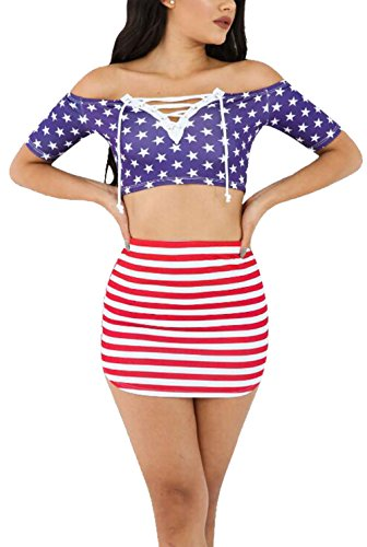 LUKYCILD Women American Flag Print Off Shoulder Crop Top Striped Skirt Outfit Set Size M (Flag)