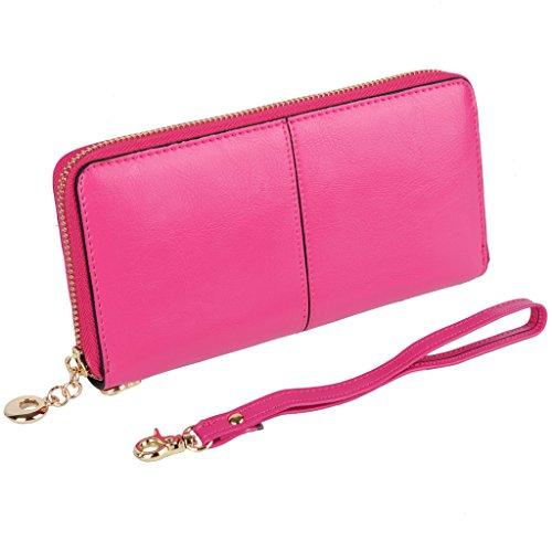 YALUXE Womens Genuine Leather Checkbook