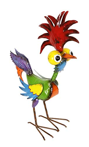 Alpine MZP388 Wacky Tropical Metal Rooster Décor Statue, 17 Inch Tall Multi-Color
