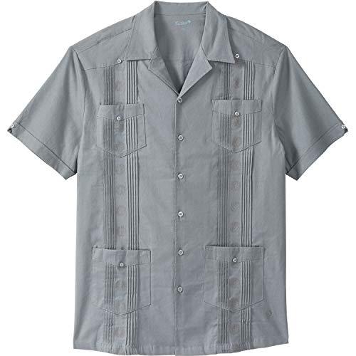 (Kingsize Men's Big & Tall Short-Sleeve Linen Guayabera Shirt, Gunmetal Tall-5XL )