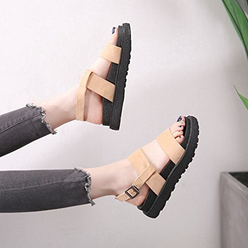 Pied Femmes Wedge Confort Sangle Chaussures Sandale Cheville Boucle Forme Beige Lit Sandale Plate Peep 8rW6q8vwf