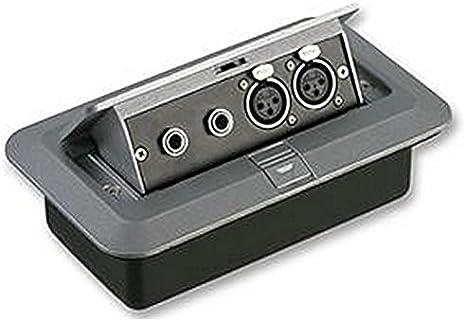 Caja de suelo, 2X XLR SKTS + 2X JACK A pop up A/V plato que se puede utilizar en instalaciones profesional para cualquier de montaje para pared o suelo y vienen con
