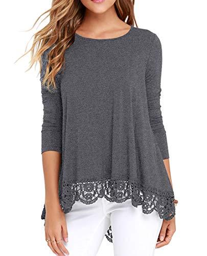 QIXING Women's Tops Long Sleeve Lace Trim O-Neck A-Line Tunic Blouse Dark Gray 2XL ()