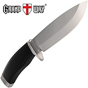 Fixed Blade Knife with Rubberized Handle for Hunting and Fishing - Good for Camping and Travels - Dependable Knife for Survival - Grand Way 148109
