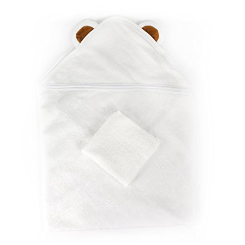 Baby Towel: Hooded, 100% Organic Natural Antibacterial Bamboo Cotton, Ultra Soft, Silky, Moisture Absorbent Comfort, with Wash Cloth Included, Great for keeping dry after Showers, Baths, or Pool - Hat Malaysia Beach