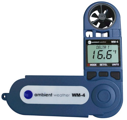 Ambient Weather WM-4 Handheld Weather Station w/ Windspeed, Direction, Temperature, Humidity, Compass, Dew Point, Comfort Index, Psychrometer