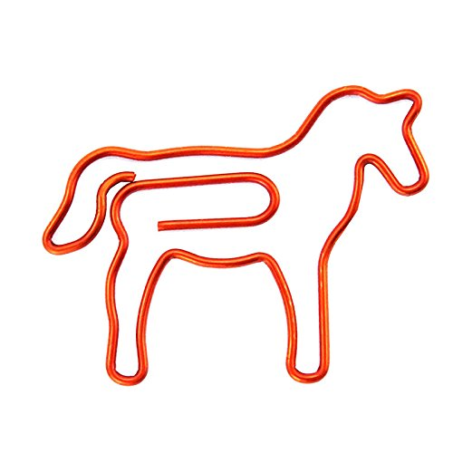 RuiLing 60 Pack Cute Fun Red Horse Paper Clips Creative Animal Shape, Great For Paper Clip Collectors Bookmark Document Holder Office School Notepad Sticker Stationery