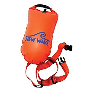 New Wave Swim Buoy for Open Water Swimmers and Triathletes - Light and Visible Float for Safe Training and Racing (Orange TPU Medium-15L)