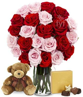 Flowers - Two Dozen Red & Pink Roses with Godiva and a Bear (Free Vase Included) ()