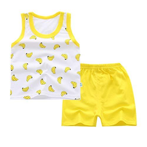 Respctful✿Baby Boy Clothes Baby Cartoon Print Summer Cotton Sleeveless Outfits Set Tops + Short Pants Yellow