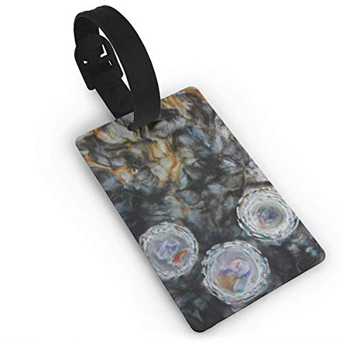 SDGlicenseplateframeIUY Print PVC Travel Luggage Tag with Strap for Baggage Bag/Suitcases - Abstract Encaustic Painting Art Business Card Holder Name ID Labels Set for Travel size 3.7in X 2.2in