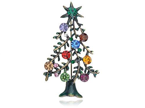 Alilang Multicolor Tone Green Rhinestones Holiday Christmas Tree Star Brooch Pin