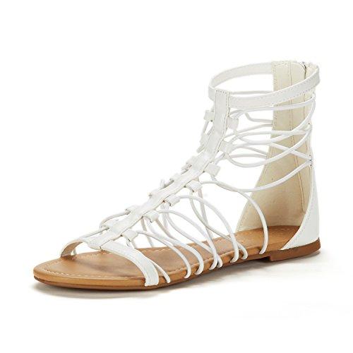 (DREAM PAIRS Women's Roman_03 White Fashion Gladiator Design Ankle Strap Flat Sandals Size 6.5 M)