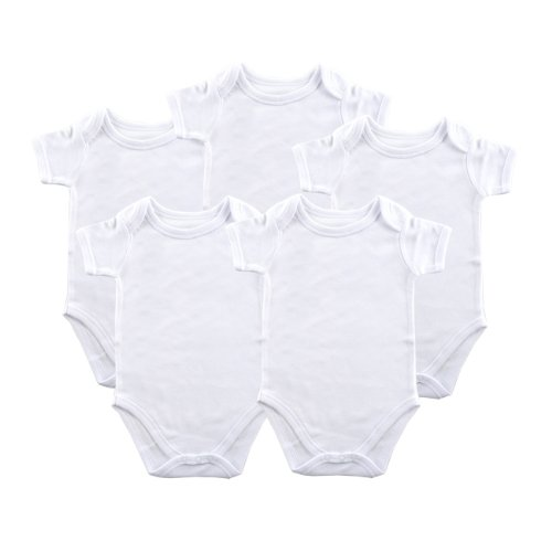 Luvable Friends Unisex Baby Cotton Bodysuits, White Short Sleeve 5 Pack, 0-3 Months (3M)