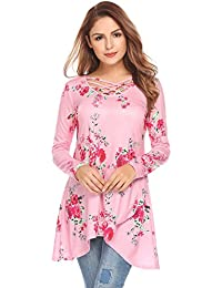 Women Sexy Criss Cross Floral Long Sleeve Casual Loose Blouse Tops