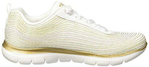 Skechers Womens Flex Appeal 2.0 Metal Madness Sneaker Wit / Goud