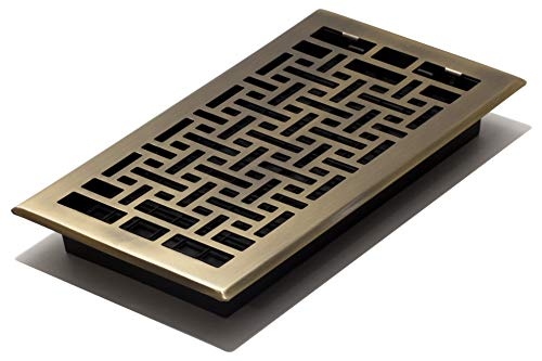 Decor Grates AJH612-A Oriental Floor Register, 6-Inch by 12-Inch, Antique Brass