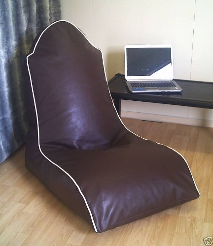 Zippy - Faux Leather Bean Bag Computer Gaming Chair - Full Adult Size - Brown + Cream Trim