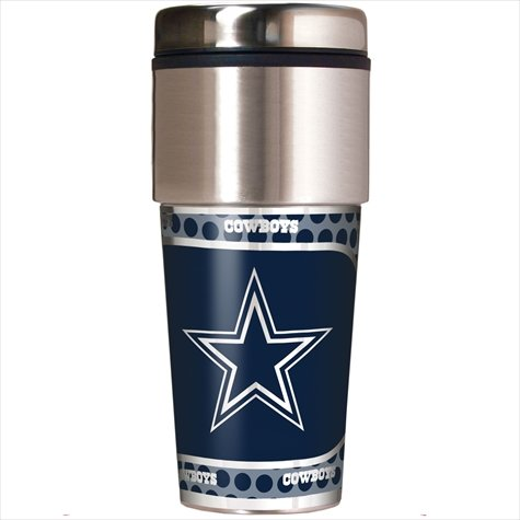 Dallas Cowboys Steel Football (Dallas Cowboys 16 oz Travel Tumbler with Metallic Wrap)
